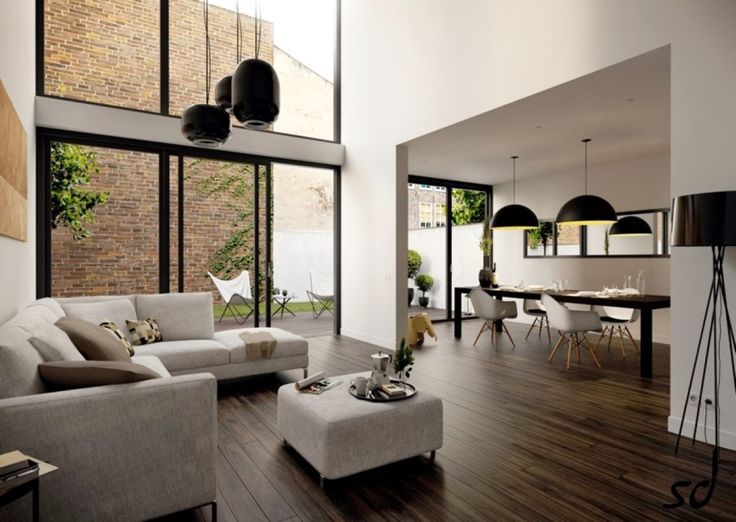 Living Room, Clean Laminate Floor With Beautiful Black Living Room Lamps Also White Seating Area Near Glass Doors Design ~ Beautiful Living Room Ideas along with Floor to Ceiling Bay Window
