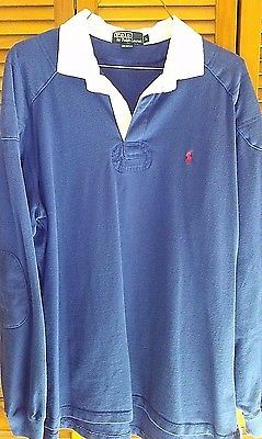 Vintage Ralph Lauren POLO Royal Blue Rugby Mens Large