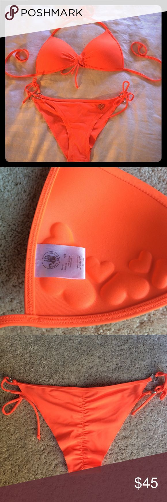 NWOT Body Glove Orange Bikini Bright orange Body Glove bikini w/ push-up top & scrunch butt bottoms. Bottoms fit true to a size x-small and have minimal coverage. Top is a small but could also fit a size medium. BRAND NEW/NEVER WORN! Re-Poshing this suit because the bottoms are way too small on me :( Body Glove Swim Bikinis