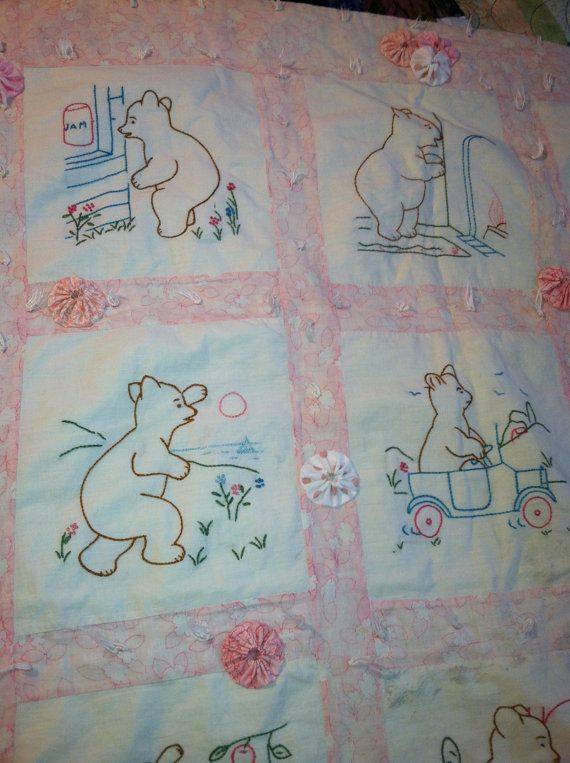 Sweet Vintage Embroidered Teddy Bear Baby Quilt