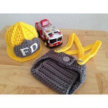 Nueva Llegada Del Bebé Traje De Bombero Crochet Sombrero y Pantalones Set Accesorios Infantiles Del Niño Del Bebé Recién Nacido accesorios de Fotografía(China (Mainland))