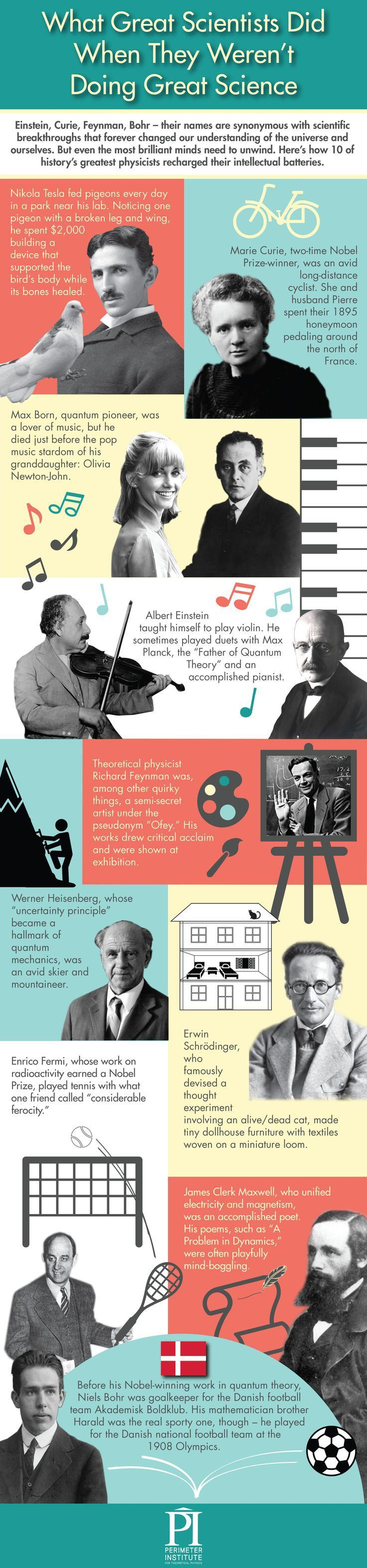 What Great Scientists Did When They Weren't Doing Science (infograph). Marie Curie was a simply astounding woman. She won the Nobel prize two times. The first time she won it in physics, in 1903, and the second time in chemistry, in 1911. But of course, there was much more to her life than just work. She had a husband and children….& she was also an avid long-distance cyclist. Get to know some of the interesting quirks behind the famous faces in science. Image via Premier Institute