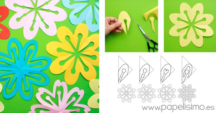"""Flores de papel kirigami: Sólo doblando y recortando papel podemos conseguir formas tan llamativas como estas flores.Esta forma de recortar figuras es una técnica japonesa llamadakirigami, en la que las figuras se obtienen tan solo recortando una pieza de papel, sin pegamento ninada más. Cortando papel """"a mano alzada"""" se pueden conseguir figuras sorprendentes, y aunque parezca difícil, verás que no lo es, e incluso sinos equivocamos, siempre saldrá una figura, ya que la forma de doblar…"""