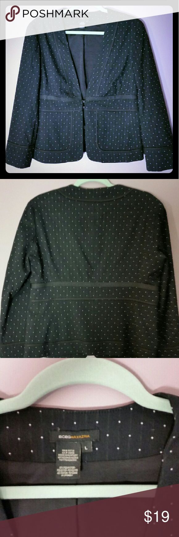 BCBG polka dot blazer BCBG polka dot blazer. Good used condition. Flattering waist narrowing design. Cute for the office or fun with jeans. BCBGMaxAzria Jackets & Coats Blazers