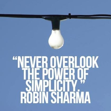 power of simplicity robin sharma picture quote