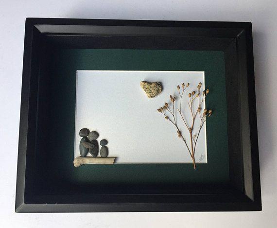 Pebble Art Gift for Family, Family Pebble Art, Stone Art Family, Personalized Family Gift, Family of Three, Custom Family Art Work, Original
