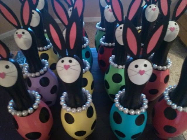 bunnies are here!  Made from salvaged bowling pins.