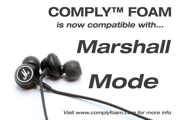 Comply™ Foam Tips are now compatible with Marshall ‪#‎Mode‬ ! Tell us what your favorite earphones are and we will try to get them tested for you! ‪#‎Marshall‬ ‪#‎earphone‬ ‪#‎music‬ ‪#‎musiclover‬ ‪#‎earphonetips‬ ‪#‎complyfoam‬  Brand - Marshall - Mode - Comply™ Foam Tips - http://modo.ly/1NlzhsQ