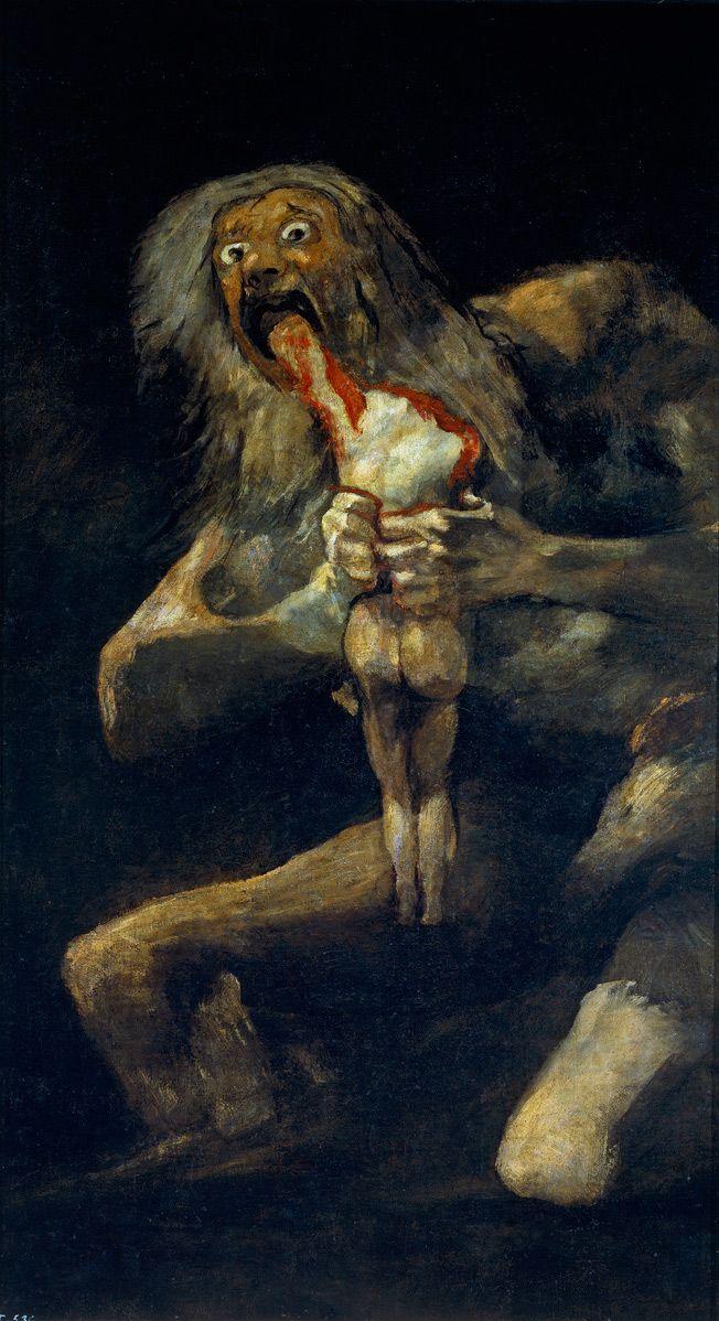 """Francisco Goya – """"Saturno Devorando um Filho"""", 1819  Depois de Goya sobreviver a uma grave doença, que o deixou temporariamente paralítico, parcialmente cego e totalmente surdo, ele perdeu a fé no governo espanhol e canalizou a sua insatisfação em suas pinturas. O artista pintava diretamente sobre as paredes de sua casa entre 1819 e 1823 e, algumas delas, refletem a sua agitação interna. Em """"Saturno Devorando um Filho"""", Goya retratou o mito grego de Titan."""