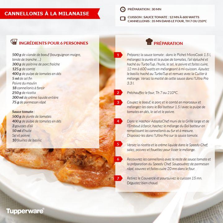 Cannellonis à la milanaise - Tupperware
