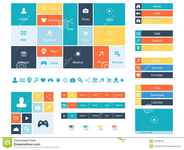 Flat Web Design Elements, Buttons, Icons. Templates For Website. Stock Vector - Image: 41918548