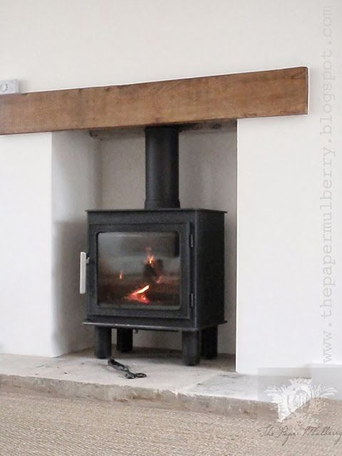 Bergen wood burning stove from Nordpeis - contemporary oak lintel and limestone hearth - The Paper Mulberry: My New Home