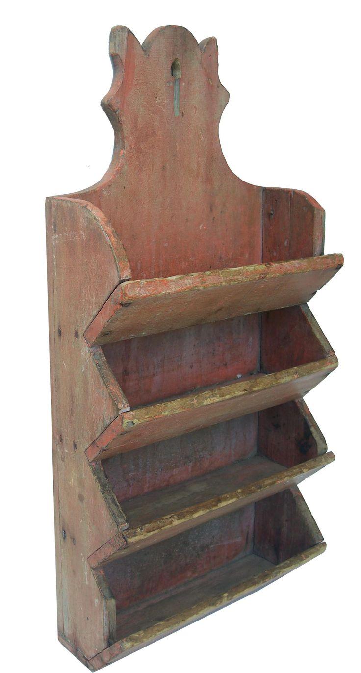 Rare 19th Century New England original Salmon painted four tier wall box