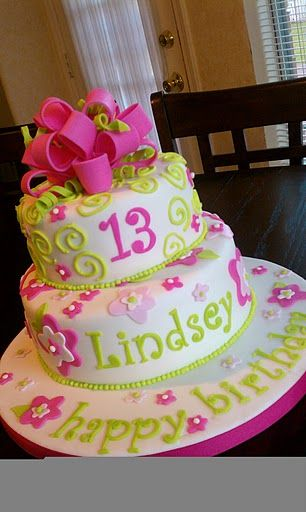 13th Birthday cake - Birthday girl asked for pink flowers and green swirls.  Chocolate WASC with butter cream and fondant.