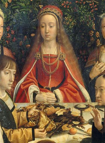 Detail of the Marriage at Cana by Gerard David, c. 1500, at the Louvre via Web Gallery of Art.