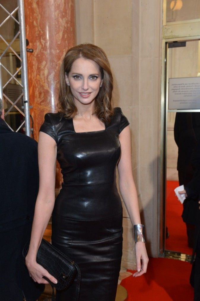 Frederique Bel in Jitrois Stretch Leather dress