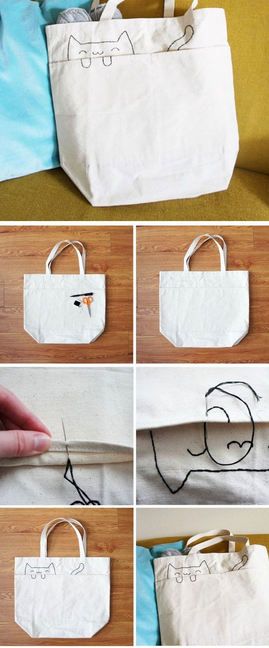 Embroidered Cat Tote Bag | DIY Mothers Day Gifts from Daughter