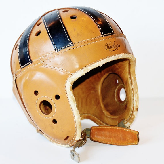 I love old style helmets....Antique Rawlings Mens Football Helmet Leather 1930s