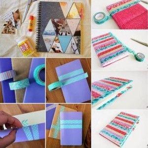 Cuaderno con cinta adhesiva, encuentra más diseños para decorar tus cuadernos aquí..http://www.1001consejos.com/ideas-para-decorar-cuadernos/
