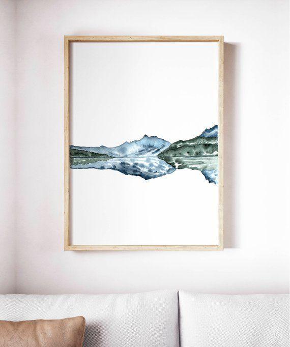 Small Watercolour Print Icelandic Landscape Painting Gouache Art Home Decor Watercolour Art Landscape Painting Abstract Landscape Print Blue
