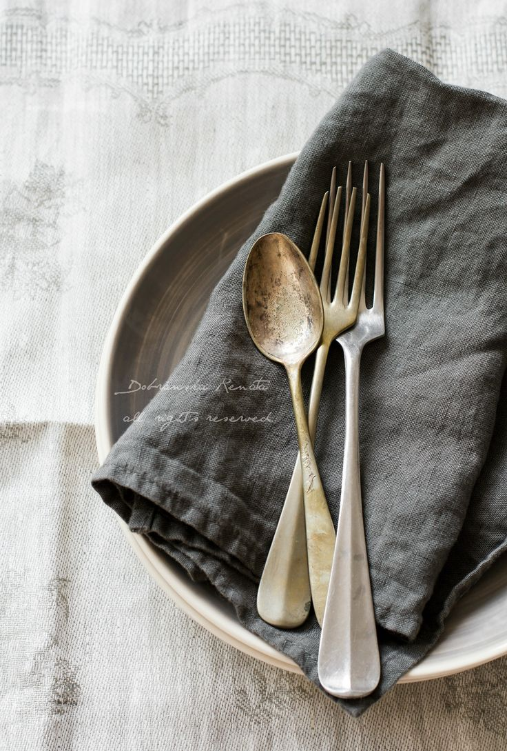 vintage cutlery on a napkin | flatware + cutlery