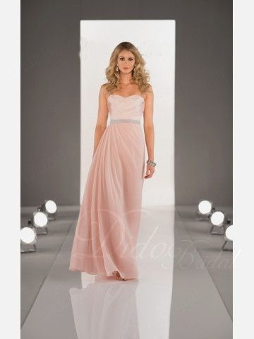 Pleated Sweetheart Chiffon Long Bridesmaid Dress