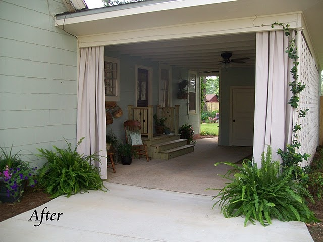 The simple curtains I made from 6'x9' painters drop clothes purchased 2 in a pack from  Home Depot for only $9.99.  They were the perfect size.  I held the panel up to determine where   to put my cup hooks on either side of the carport opening.  I loosely pleated the top edge   of the curtain then poked a hole through the layers with an exacto knife.    Then, I just threaded the holes onto the hooks.