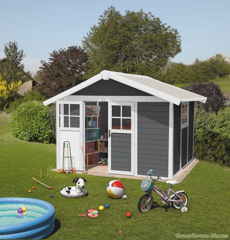 Grosfillex Deco 10x8 PVC Plastic Shed In White & Dark Grey