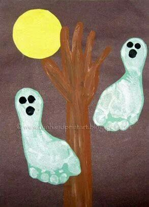 All you need is 2 little feet and a hand! Cute little Halloween art! :)