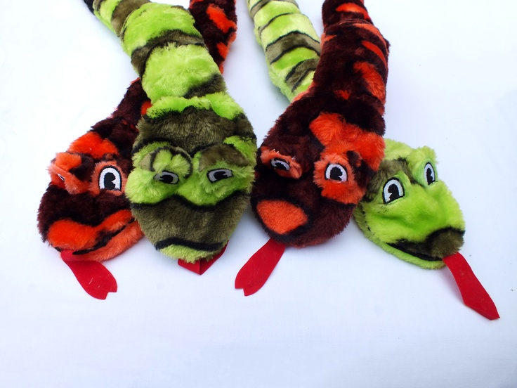 Our fuzzy fun loving snakes do not contain stuffing, so no more dog play areas that look like a bomb has hit them recently   •Soft Plush outer   •No stuffing   •Long lasting squeakers