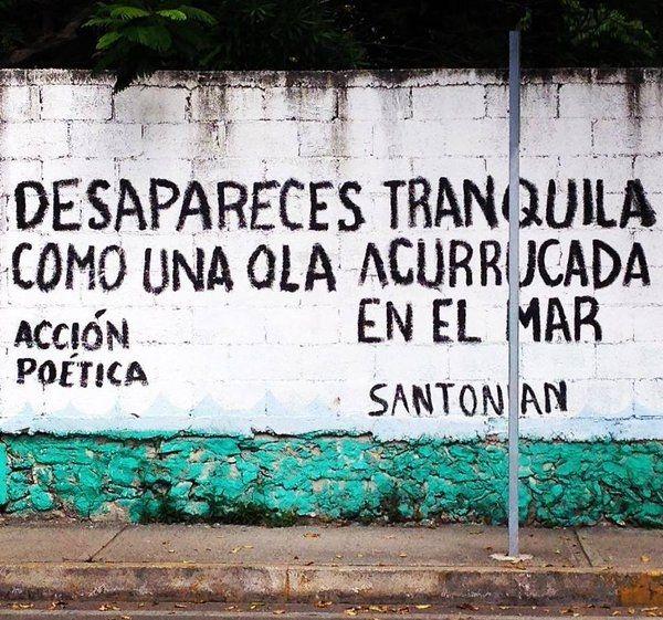Desapareces tranquila como una ola acurrucada en el mar #Acción Poética Santonian #accionpoetica