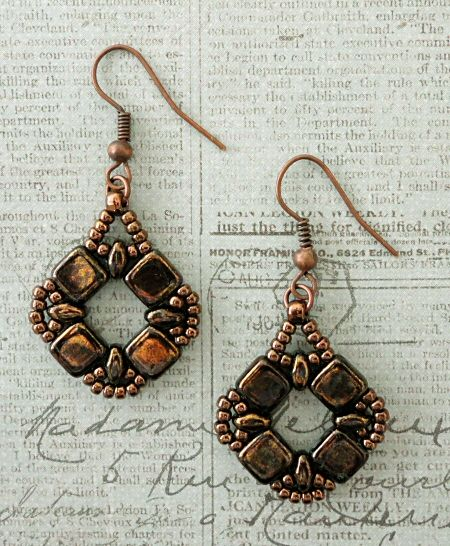Coin Earrings Variation - Jet Bronze Picasso