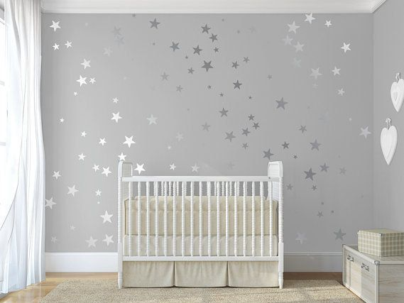 120 silver metallic stars nursery wall decalswall by quotemywall - Baby Wall Designs