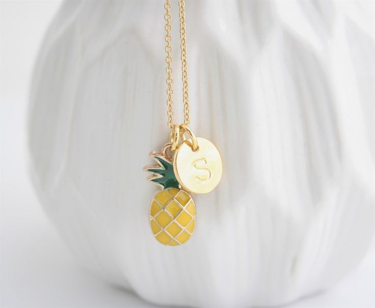 Gold Pineapple Initial Necklace | Stainless Steel