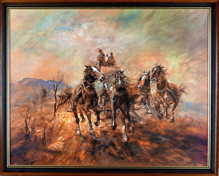 HUGH SAWREY (1919 - 1999)  Large Decorative Print Title: Fresh in the Traces - Horses Size: 54cm x 69cm Frame Size: 61cm x 76cm Artwork is Housed in a Timber Frame