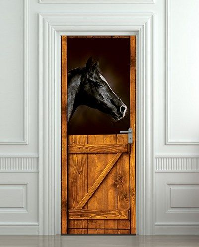 Door STICKER horse stall mural decole film poster by Pulaton