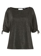 Womens Black Silver Glitter Cold Shoulder Top- Silver