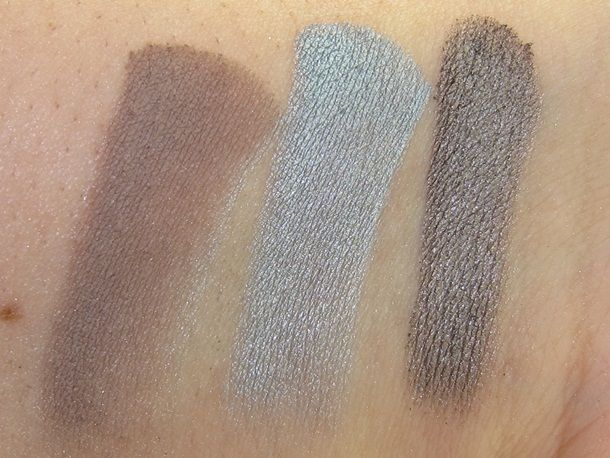 Prestige Cosmetics Vanity Flair Eyeshadow Palette Swatches   L-R: Taupe Notch, Bauble Blues, Show Off