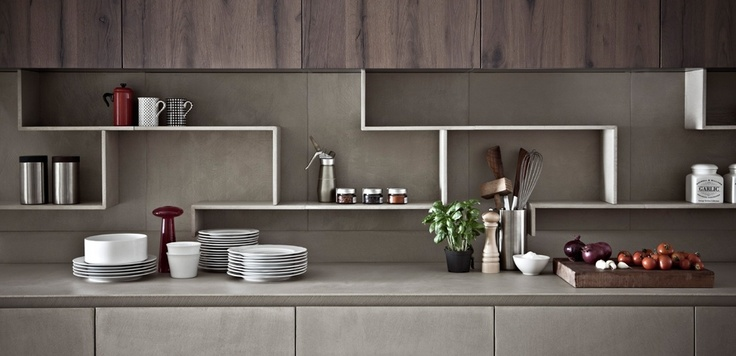 Zampieri - Line K kitchen in cement resin and seasoned oak.