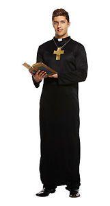 Vicar Priest Fancy Dress Outfit Adult Mens Regular Costume Robe Collar & Cross  | eBay