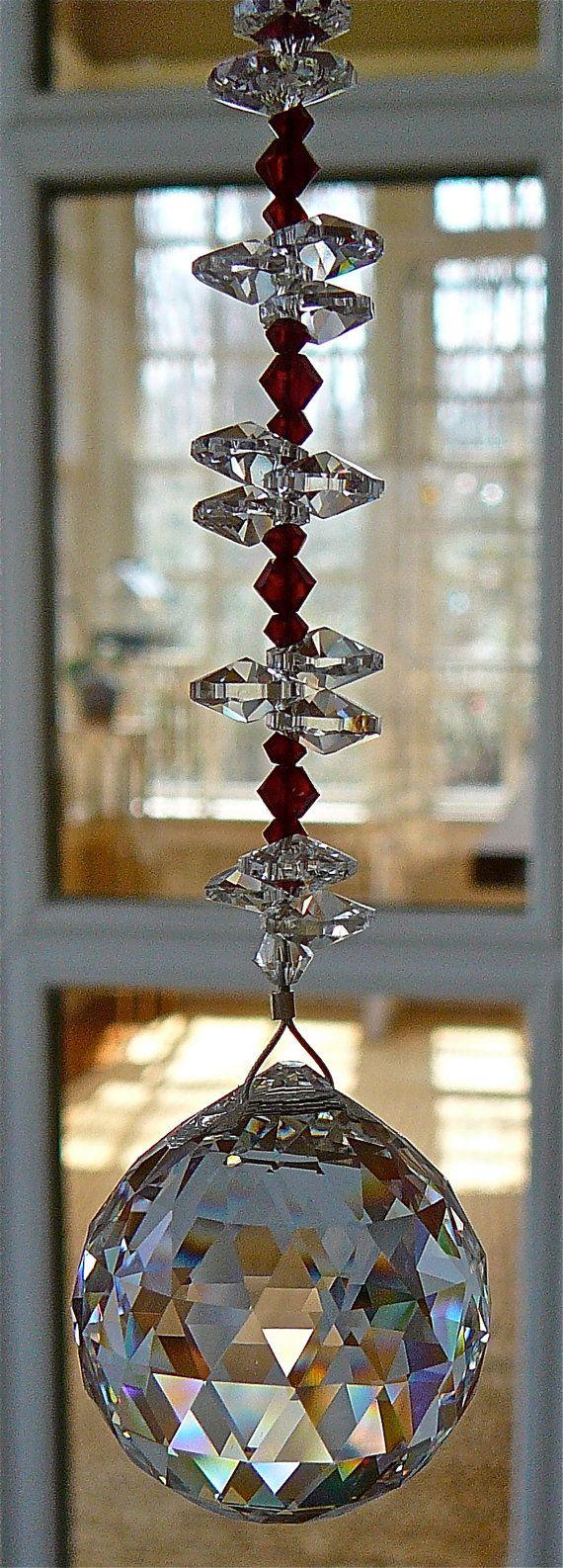 """Natalie Red 9"""" - Swarovski Crystal Sun Catcher, 30mm Crystal Ball with Red Crystal Beads and Crystal Octagons"""