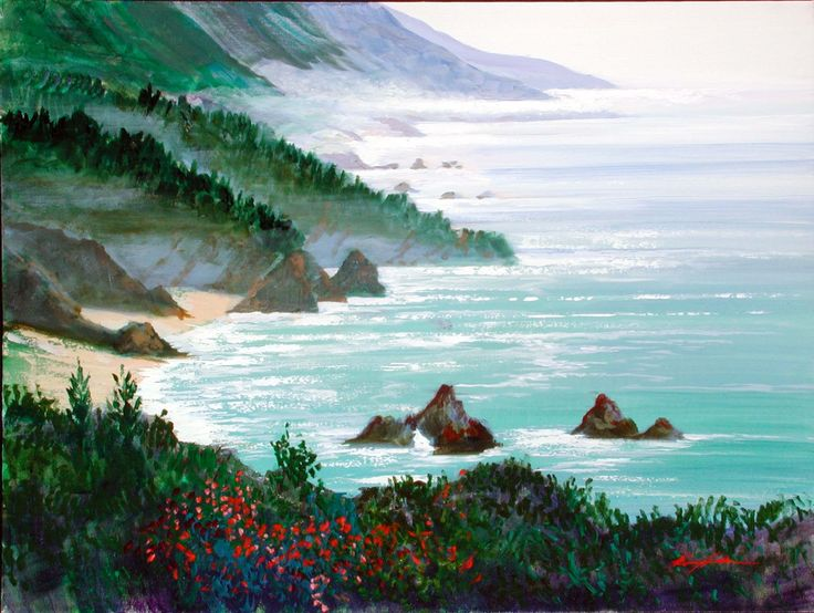 "KERRY HALLAM, ""Big Sur"", acrylic on canvas"