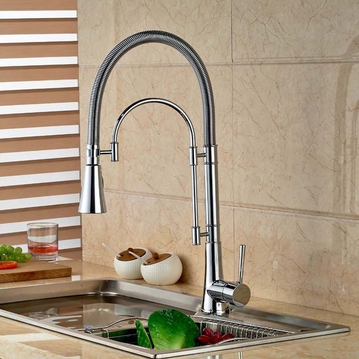 Chrome Brass Spring Kitchen Faucet Swivel Spout Vessel Sink Mixer Single Handle Hole Sink Mixer Tap
