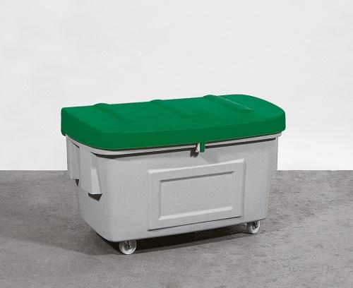 B.18121 - Streugutbehälter aus PE ohne Entnahmeöffnung, 100 L, Deckel grün