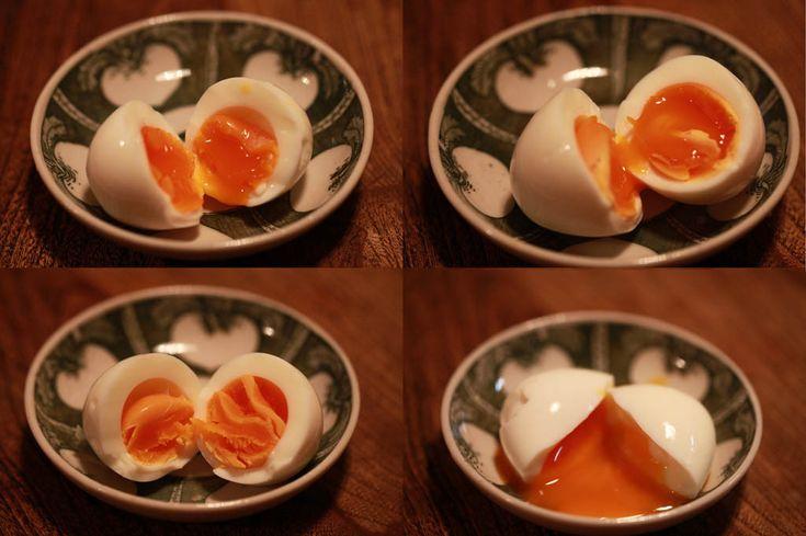 宗派が乱立する半熟ゆで卵の製法を統一。簡単&短時間&失敗なく半熟卵を作る方法と、ゆで時間と仕上がりの比較写真