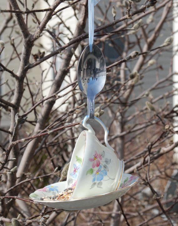 Tea Cup Bird Feeder with Hand Stamped Bent Spoon- GARDEN PARTY