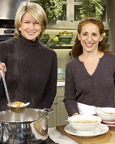 Susan's Chicken Soup FROM Martha Stewart  Serves 10  NOTE: parsleyed matzo balls instead of 'soggy' noodles
