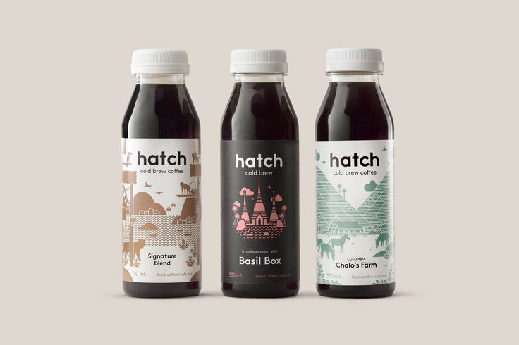 Hatch Cold Brew Coffee brand identity, illustration and packaging by Toronto based graphic design studio Tung