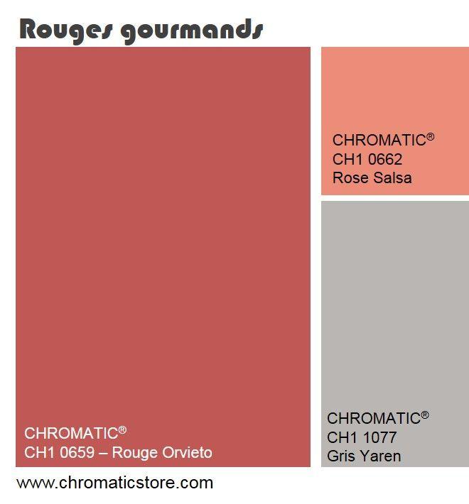 Les rouges gourmands, inspirés des fruits rouges et des rouges liquoreux peuvent être ponctuellement mêlés à des reflets corail. www.chromaticstore.com