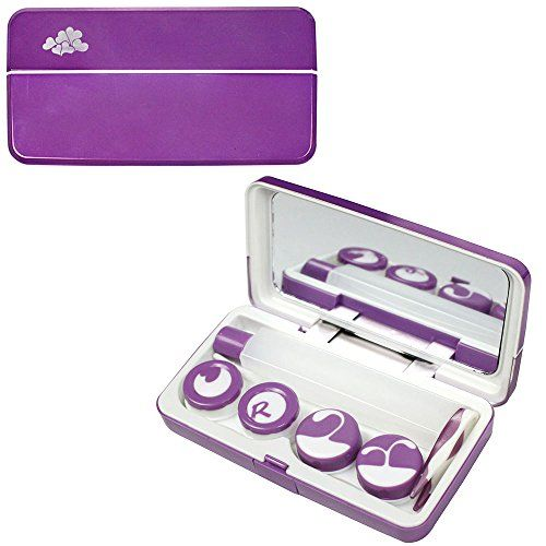 JAVOedge Purple Metallic Contact Lens Travel Kit With Mirror, 2 Twist Cap Lens Set, And 1 Large Solution Bottle | ProHealthCure